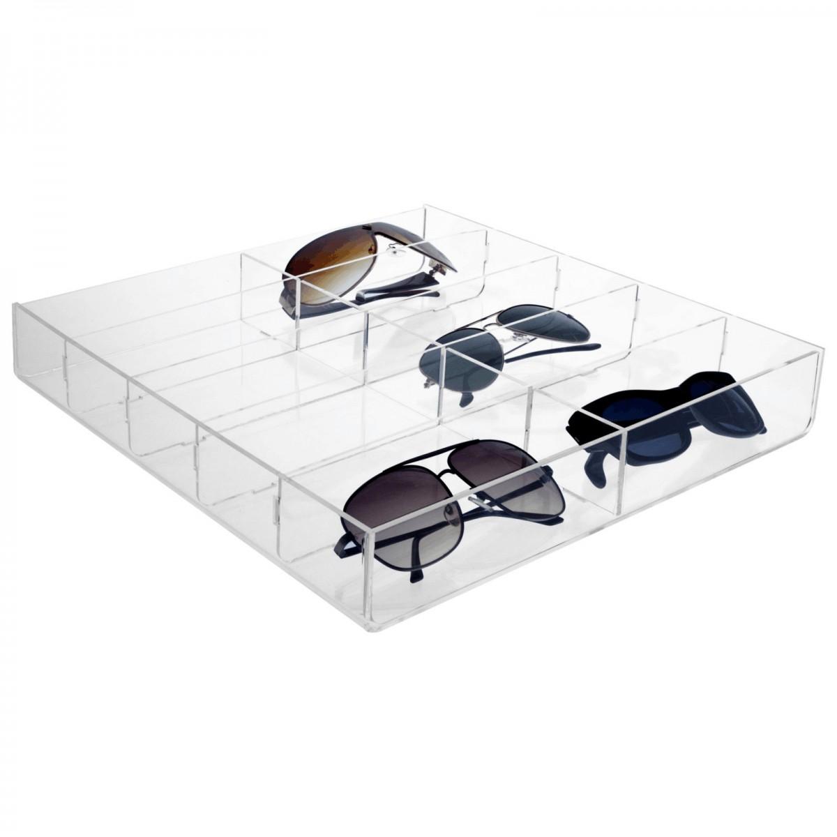 porta occhiali in plexiglass trasparente a 10 scomparti