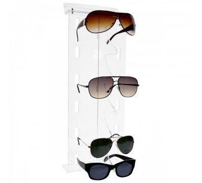 Clear acrylic eyeglass/sunglass display rack for slatwall shelves – Vertical tier Dimensions: 6.89''Wx2.95''Dx17.72''T