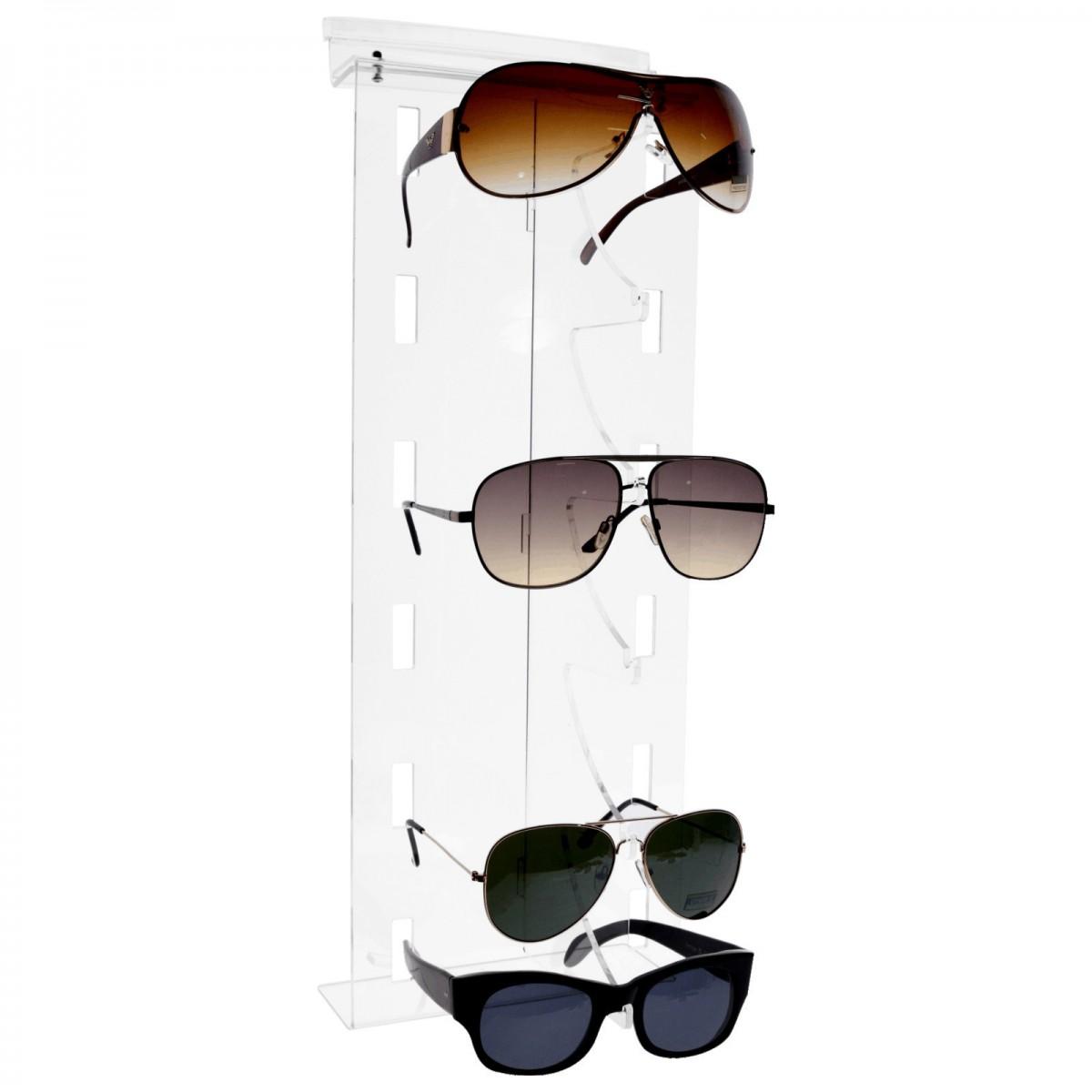 E-326 - Porta occhiali in plexiglass trasparente verticali per pannelli dogati