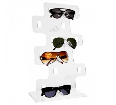 Porta occhiali in plexiglass trasparente a postazioni verticali