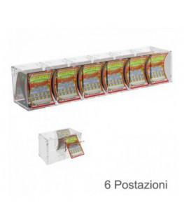 E-384 - Espositore gratta e vinci da banco o da soffitto in plexiglass trasparente munito di sportellino frontale lato rivend...