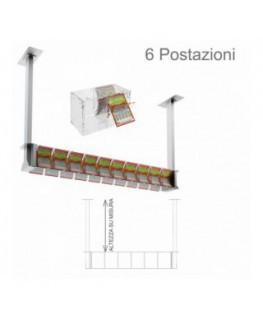 E-390 - Espositore gratta e vinci da soffitto in plexiglass trasparente munito di sportellino frontale lato rivenditore