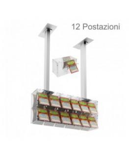 E-391 - Espositore gratta e vinci da soffitto in plexiglass trasparente munito di sportellino frontale lato rivenditore