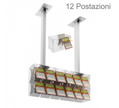Clear acrylic scratch card holder for attachment to ceiling and a small door facing the seller