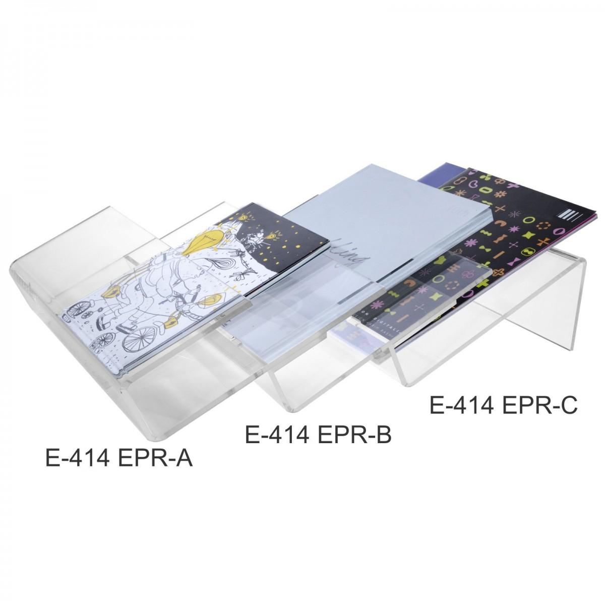 E-414 - Espositore da banco in plexiglass trasparente porta riviste e quotidiani modulare