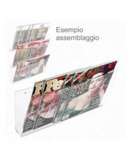 E-415 - Espositore da parete in plexiglass trasparente porta riviste e quotidiani modulare