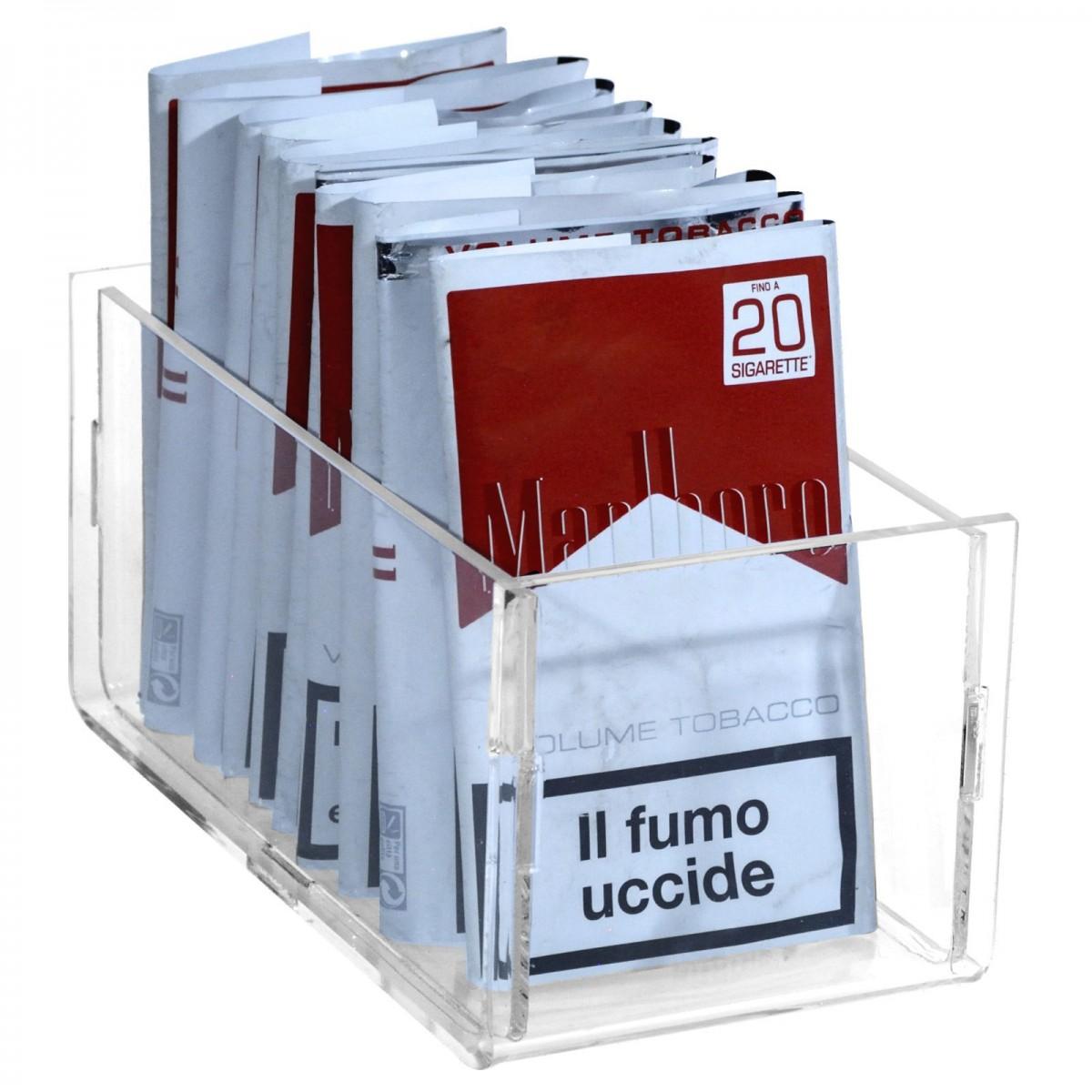 E-419 - Espositore in plexiglass trasparente da banco per buste di trinciato o caramelle