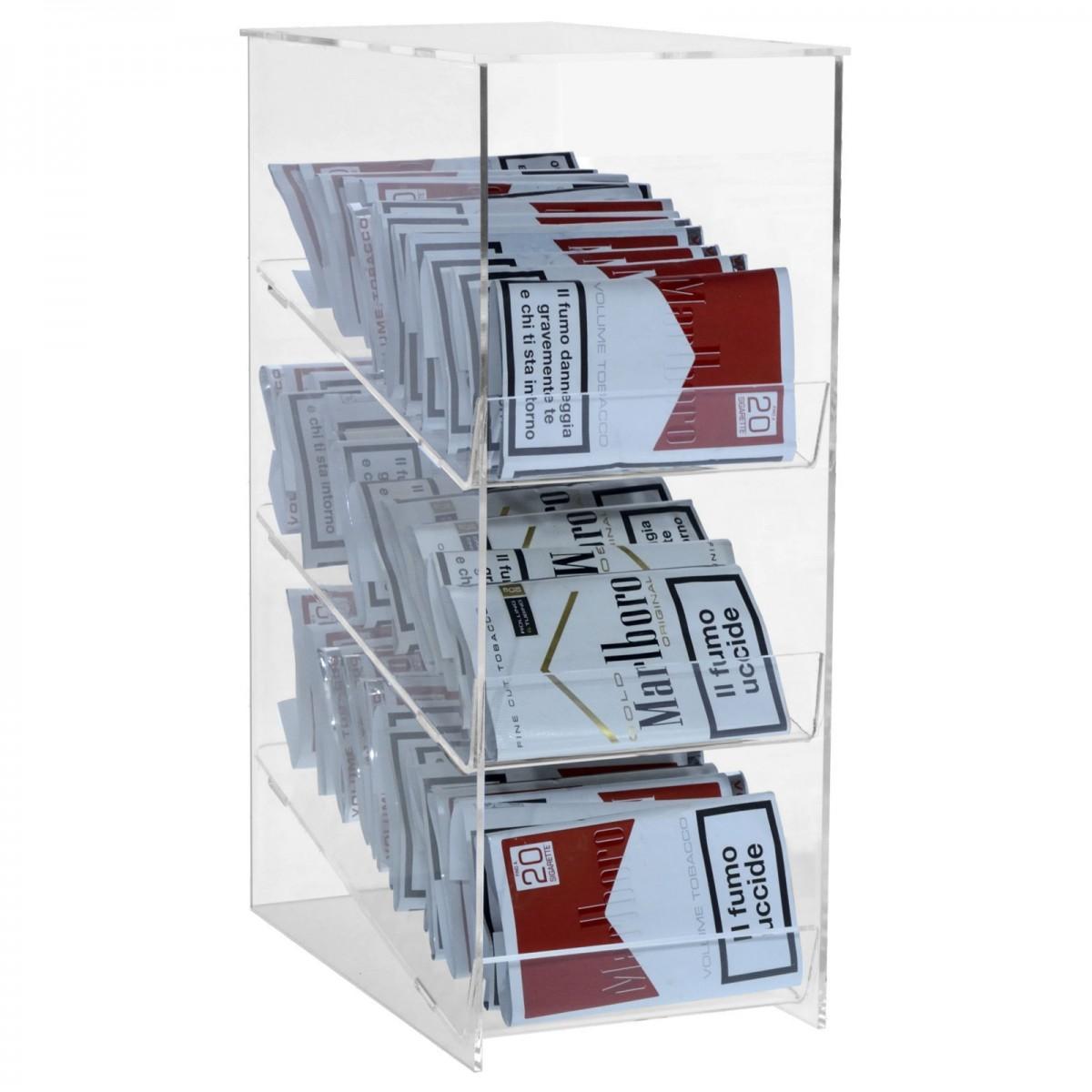 E-420 - Espositore porta buste di trinciato da banco in plexiglass trasparente