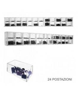 Espositore porta viti in plexiglass trasparente