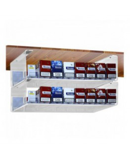 Clear acrylic cigarette display for attachment to ceiling (20 per pack) with a compartment pusher system