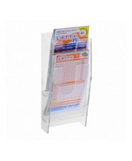 E-479 - Espositore porta schedine e gratta e vinci da parete in plexiglass trasparente