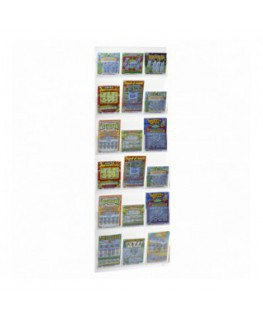 Clear acrylic bet slip and scratch card display for wall