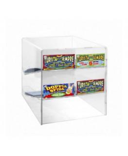 E-511 - Espositore gratta e vinci da banco in plexiglass trasparente