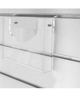 Porte-visuel  horizontal en plexiglass pour panneaux rainurés