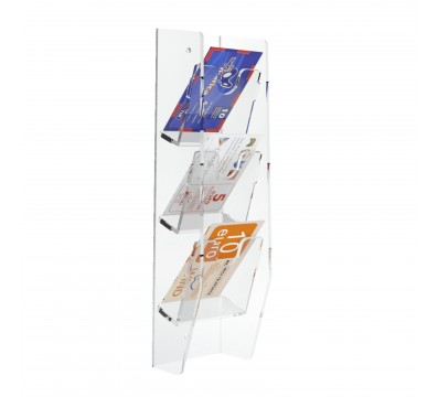 Espositore schede telefoniche da parete in plexiglass trasparente