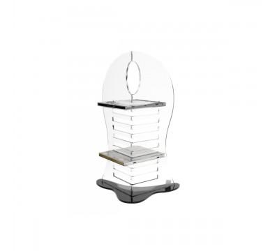 E-009 PCD - Porta CD a 10 scomparti in plexiglass trasparente con base nera dal design moderno