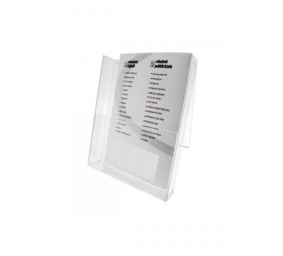Porta depliant in plexiglass trasparente, Formato A5