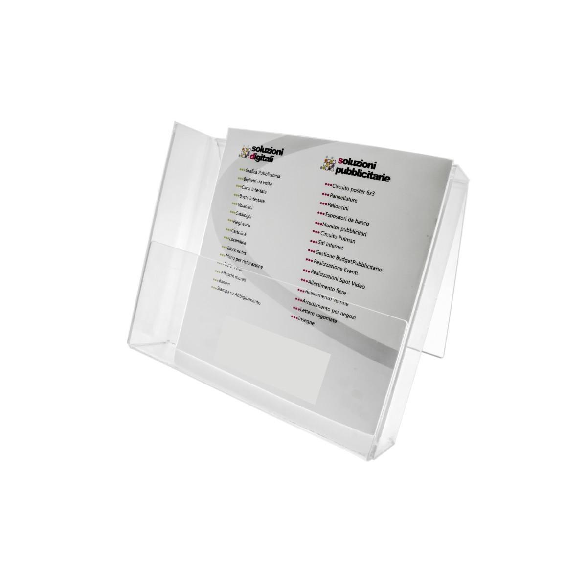 E-017 PD - Porta depliant in plexiglass trasparente, Formato A4