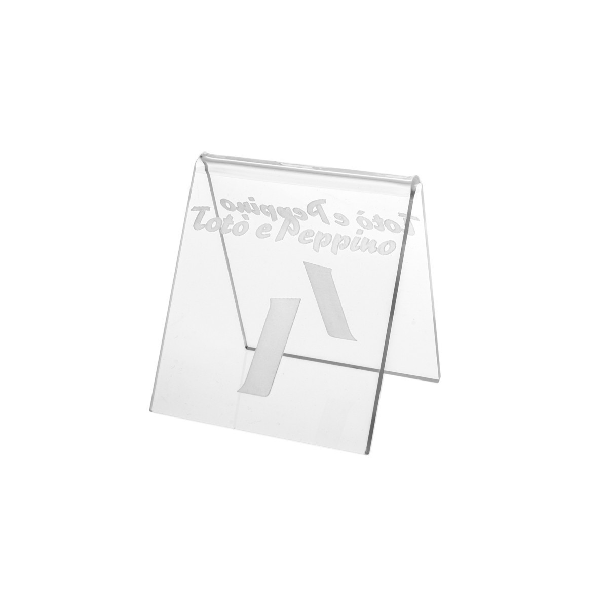 E-041 NT-A - Segnaposti in plexiglass trasparente - Misure: 8 x 8 x H8 incisione piena