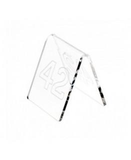 E-041 NT-B - Segnaposti in plexiglass trasparente - Misure: 6x7x H6.5 cm - incisione contorno