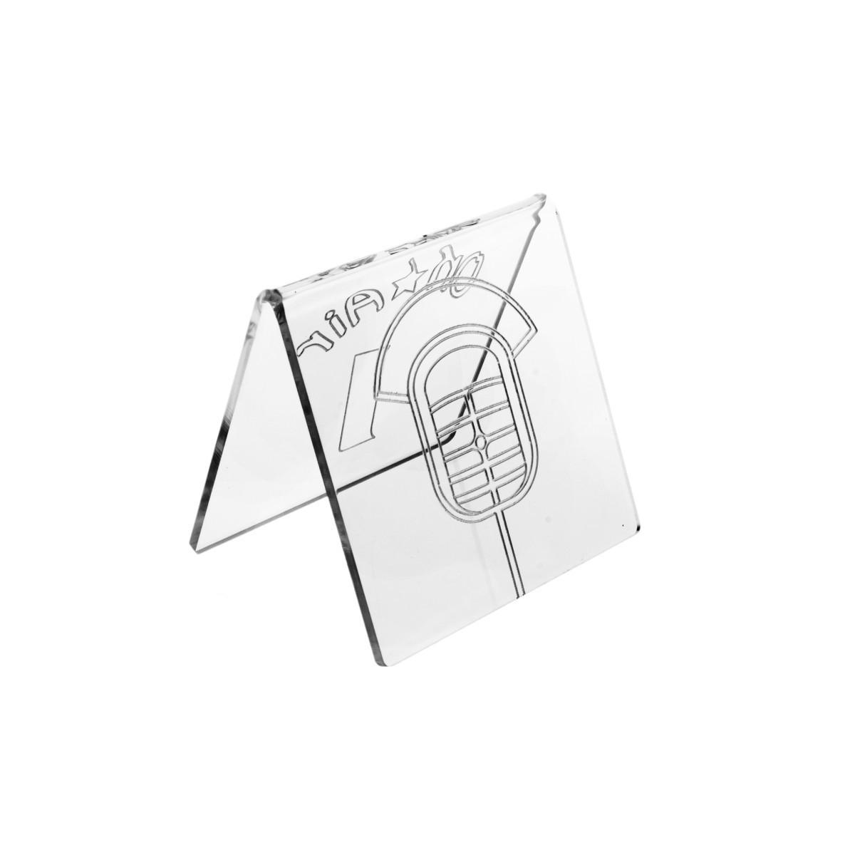 E-041 NT-C - Segnaposti in plexiglass trasparente - Misure: 8x8x H8 cm - incisione contorno