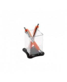 E-042 PP - Porta penne da banco in plexiglass trasparente - Misure: 6.5 x 6.5 x H10 cm