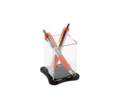 Porta penne da banco in plexiglass trasparente - Misure: 6.5 x 6.5 x H10 cm