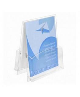E-044 PD - Porta depliant in plexiglass trasparente a 2 tasche Formato A4