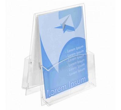 Porta depliant in plexiglass trasparente a 2 tasche Formato A4