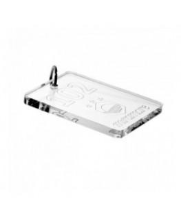 E-048 PC-C - Portachiavi per hotel in plexiglass trasparente Incisione Contorno - Misure: 8 x H10 cm - C