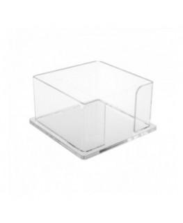 E-052 PP-B - Porta post it in plexiglass trasparente - Misure interne: 10,5 x 10,5 x H6 cm