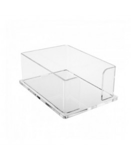E-052 PP-D - Porta post it in plexiglass trasparente - Misure interne: 15,5 x 10,5 x H6 cm
