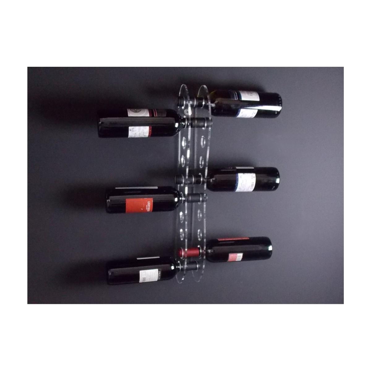 E-090 PBT-D - Portabottiglie in plexiglass trasparente per 10 bottiglie - Misure: 13 x 6 x H60 cm