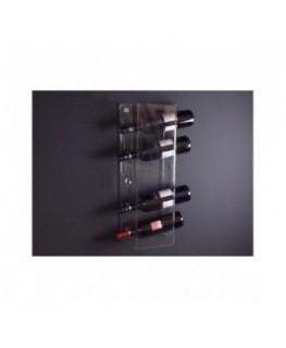 E-090 PBT-F - Portabottiglie in plexiglass trasparente per 5 bottiglie - Misure: 22 x 12 x H59 cm