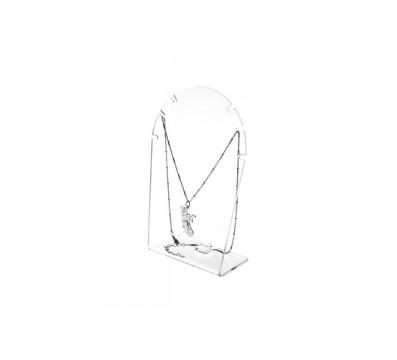 E-091 PC-A - Porta collana in plexiglass trasparente da banco - Misure: 16 x 5 x H20 cm