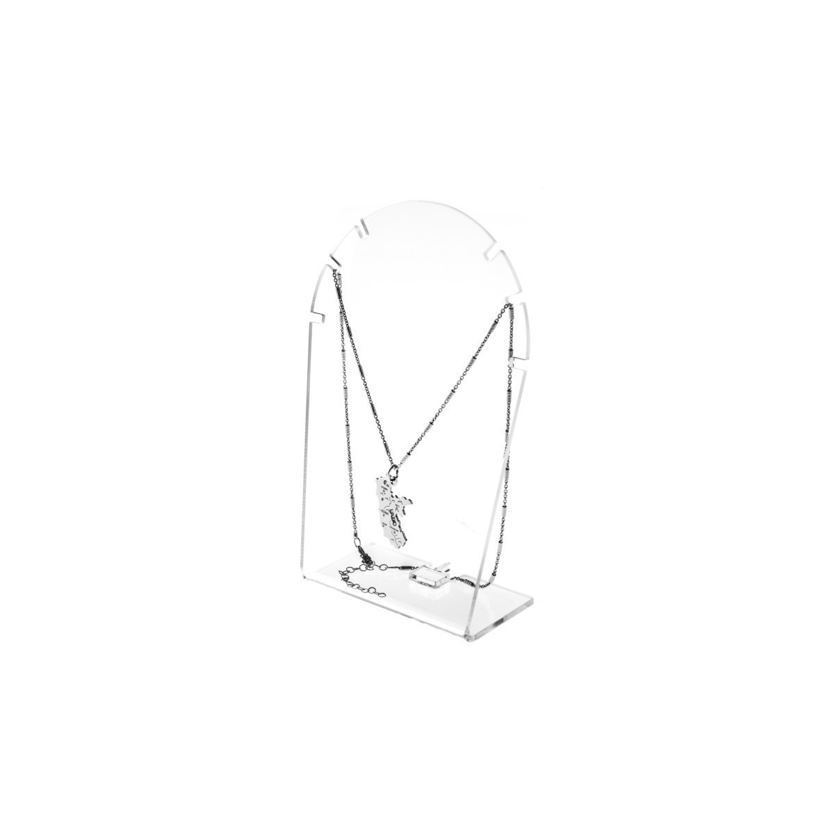 Expositor de mostrador para collares en plexiglás transparente