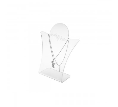E-091 PC-B - Porta collana in plexiglass trasparente da banco - Misure: 17 x 6 x H20 cm