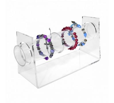Porta bracciali in plexiglass trasparente con tubo - CM(LxPxH): 31x8.5x13
