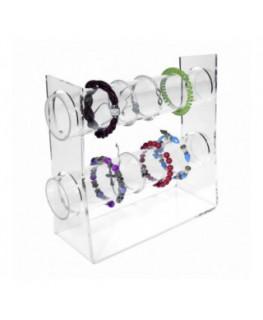 E-092 PB-B - Porta bracciali in plexiglass trasparente con 2 tubi - CM(LxPxH): 31x8.5x25