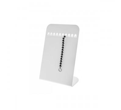 E-092 PB-D - Porta bracciali in plexiglass opalino da banco con n° 10 postazioni - Misure: 21 x 11 x H32 cm