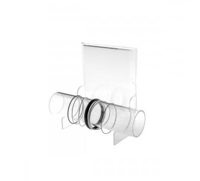 Porta bracciali in plexiglass trasparente con tubo e pannello porta pubblicità - Misure: 25 x 9 x H20 cm