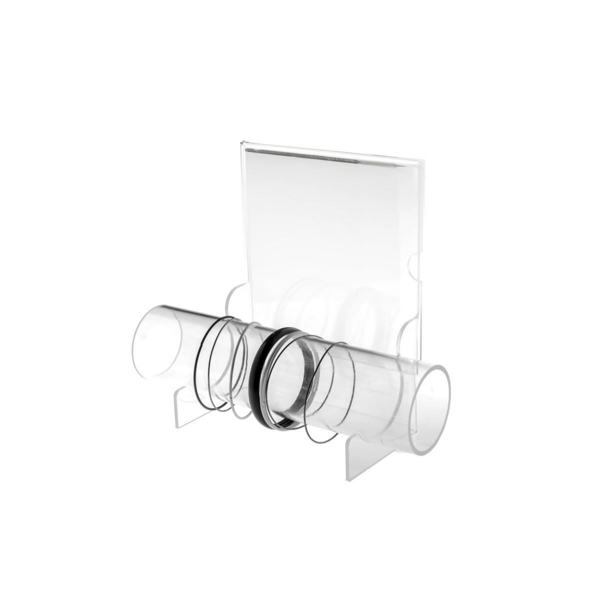 E-092 PB-E - Porta bracciali in plexiglass trasparente con tubo e pannello porta pubblicità - Misure: 25 x 9 x H20 cm