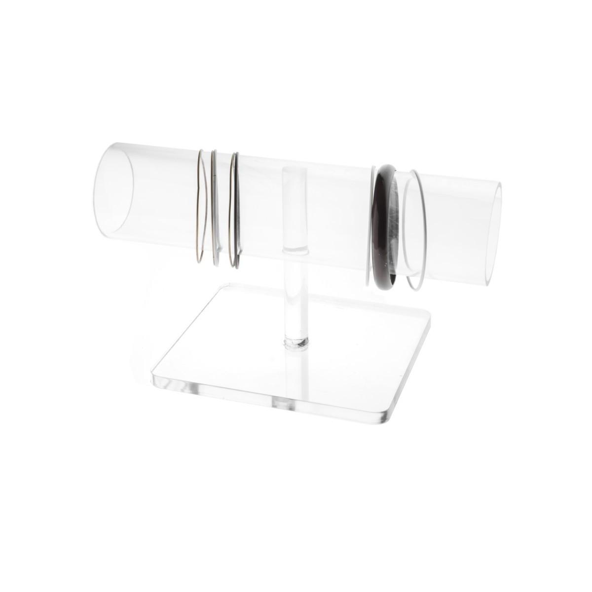 E-092 PB-F - Porta bracciali in plexiglass trasparente con tubo - Misure: 24 x 13 x H14 cm