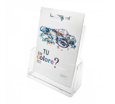 E-102 PD-A4 - Porta depliant da tavolo in plexiglass trasparente - Tasca formato A4