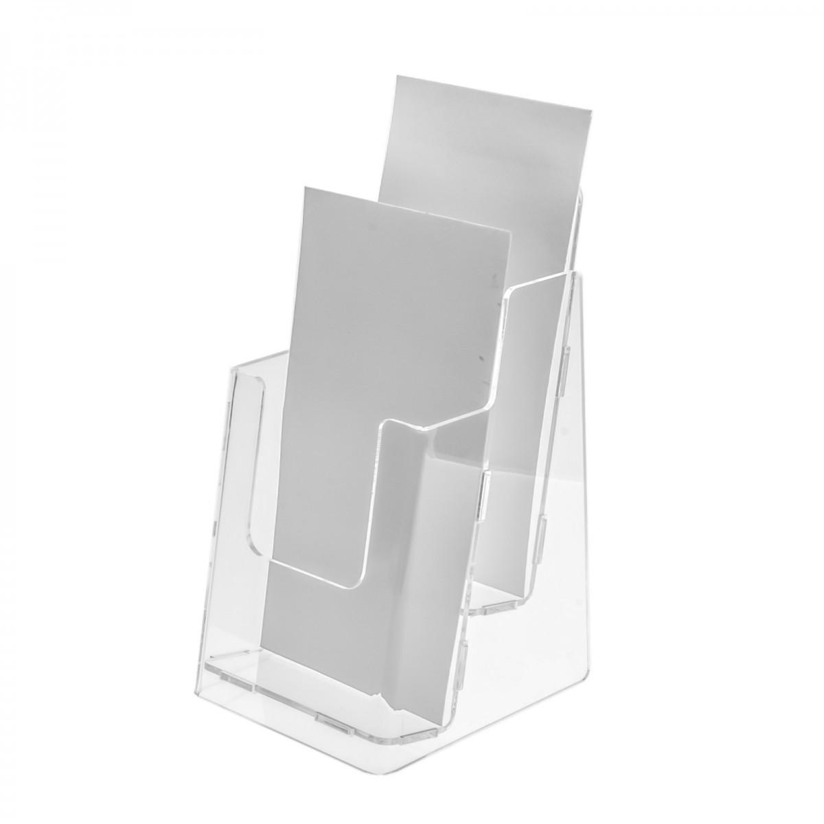E-103 PD-1/3 A4 - Porta depliant da tavolo in plexiglass trasparente - Tasca formato 1/3 di A4