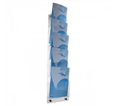 A4 Acrylic wall-mounting brochure holder with 5 Tiers