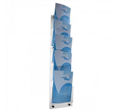 E-104 PD-A4 - Porta depliant da parete a 5 tasche in plexiglass trasparente - Tasca formato A4
