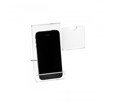 E-123 PCE-A - Portacellulare in plexiglass trasparente - Misura: 14x10x H12 cm