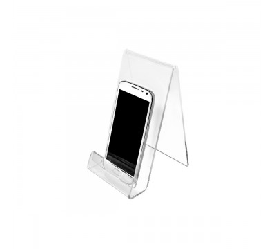 Portacellulare in plexiglass trasparente con segnaprezzo - Misura: 10x12x H18 cm
