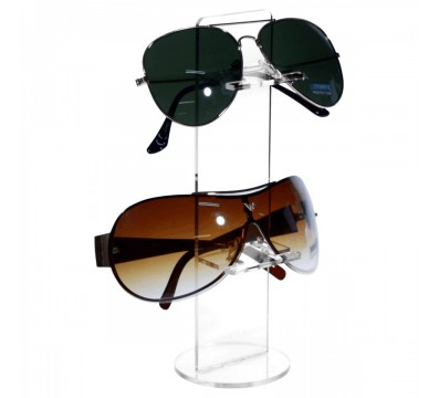 Clear Acrylic eyegass/sunglass display rack with 2 shelves